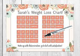 Weight Watchers 5 Chart Personalised Weight Loss Chart Weight Watchers Floral