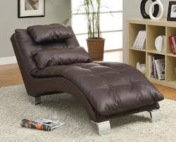 coaster contemporary brown faux leather chaise 550076