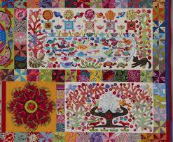 Glorious Applique: Applique tutorials by Kim McLean & Pandemonium applique #2 fabrics and double circle blocks Adamdwight.com