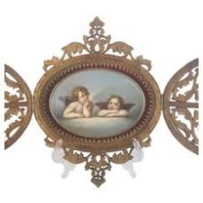 antique oval picture frames. 19C Double Door Carved Frame With Oval Hand Painted Porcelain \ Antique Picture Frames O