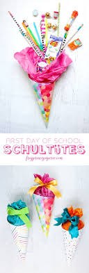 1000 ideas about first day at work office survival easy diy for first day of school treat in the german tradition a schultüte made in miniature filled fun back to school supplies thinking day