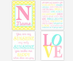 baby girls canvas nursery wall art yellow pink aqua teal dream big sweet girl you are my sunshine love personalize name monogram quatrefoil canvas prints