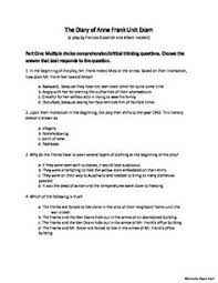 the diary of anne frank unit handouts vocabulary list the diary of anne frank unit packet character plot exam essay rubric