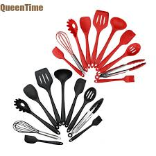 <b>QueenTime</b> 10 PCS Silicone Cooking Utensil Set <b>Stainless Steel</b> ...