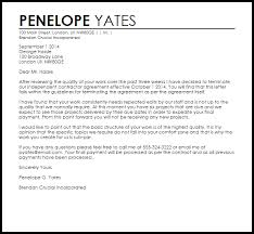 independent contractor termination letter sample letter of contract cancellation
