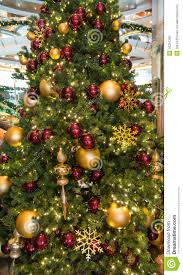 Lobby Christmas Tree with Red and Gold Ornaments