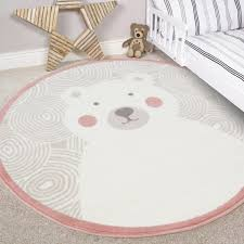 kids blush pink round boy girl bedroom rugs circle teddy bear baby nursery mats 1 of 5only 5 available