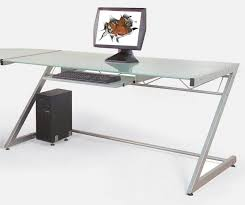 full size of long stainless steel computer desk with glass table top small home computer desk