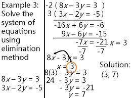 elimination method 3 system of equations