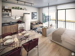 These modern apartments offer creative ways to organize and decorate within  a small studio layout.