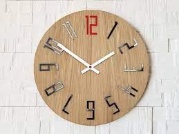 large wood wall clock black red wall