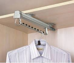 Sliding Coat Rack White Wardrobe Pullout Clothes Hanger Premium Pull Out Rail Hanger 2