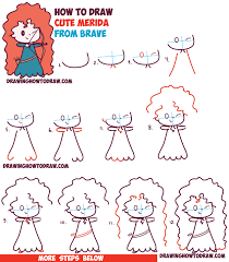 drawing lesson for beginners how to draw cute kawaii chibi merida from disney pixar s brave in easy step by step