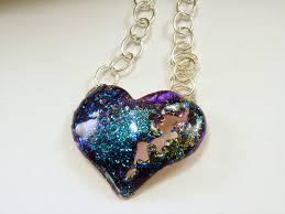 inked resin puffed broken heart pendant necklace