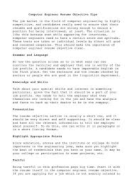 Career Objective For Resume Computer Engineering Resume Career