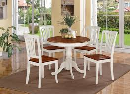 5 pc round small table kitchen table and 4 wood chairs ermilk photo details from