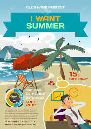 office party flyer vector summer party invitation lounge dreaming office worker
