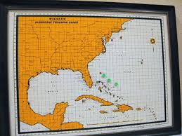 Vintage Map Magnetic Hurricane Tracking Chart 1967