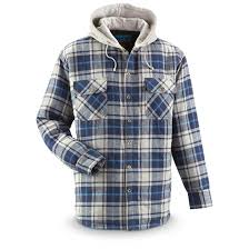 Men's Quilt-Lined Hooded Flannel Shirt - 665227, Shirts at ... & Men's Quilt-Lined Hooded Flannel Shirt, Blue Adamdwight.com