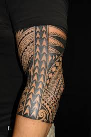 Hawaiian Design Tattoo On Elbow