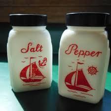 ships salt pepper shakers milk glass with black lids treasury item