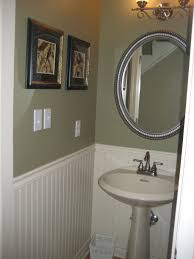 sage green bathroom paint. Marvelous Image Of Small Bathroom Decoration With Round Steel Mirror Including Sage Green Wall Paint And White Wood Wainscoting