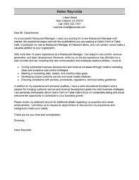 Restaurant Manager Resume Cover Letter Examples Milviamaglione Com