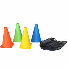 Training Cone Set, <b>10pcs</b>, 23cm, Multicolor - Tunturi Fitness