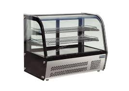 polar refrigerated countertop curved glass display cabinet 100ltr