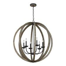 w 6 light weathered oak wood and antique forged iron