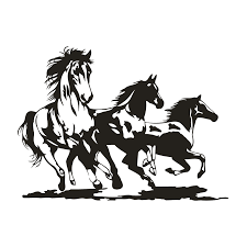 running horses black and white. Contemporary White Three Running Horses Decal Throughout Black And White