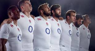 undated handout photo provided by synergy of england players wearing the new england rugby home kit