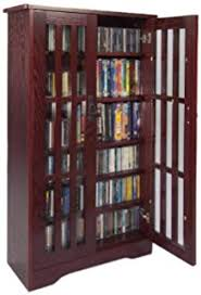 Amazoncom Winsome Wood CDDVD Cabinet with Glass Doors Antique
