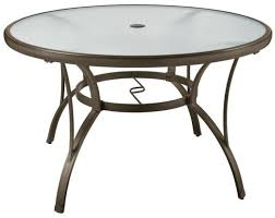 round outdoor dining table 48 in textured glass top commercial grade brown new