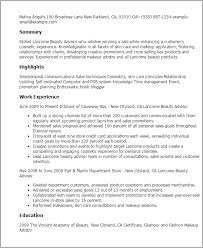 Resume Templates: Lancome Beauty Advisor