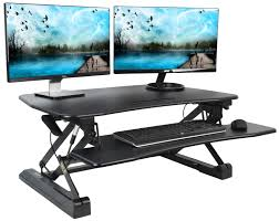 VIVO Deluxe Height Adjustable Tabletop Desk Riser Standing Desk Table Top  Sit to Stand Converter Removable Tray Platform in Black