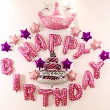 Colorful Foil Balloons Pink Happy Birthday Balloons Letter Kids