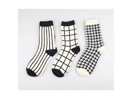 černo Bílé Ponožky Lunzocz