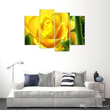 yellow canvas wall art 4 panel yellow flower painting canvas wall art picture home decoration living