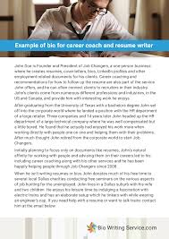 Example Of Bio For Career Coach And Resume Writer Ucollect