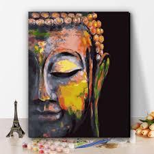 Tranh tô màu sơn dầu theo số Đức Phật - 36 màu - Tranh sơn dầu Thương hiệu  OEM