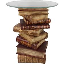 Book Design Side Table Design Toscano Power Of Books Sculptural Glass Topped Side
