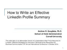 How To Write A Profile How To Write An Effective Linkedin Profile Summary