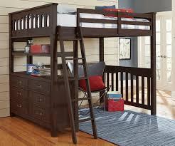 image of dark wood queen size loft bed with desk