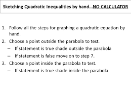 sketching quadratic inequalities by hand no calculator 1 follow all the steps for graphing