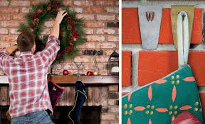 how to hang a wreath or stocking on a brick wall