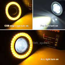 Details About 3inch Angel Eyes Halo Ring Drl Lamp Cob Led Fog Light Projector Car Yellow 3200l