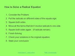 how to solve a radical equation 1 consider the problem