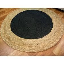 braided jute target black round circle floor rug