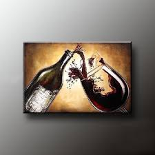 wine glass and wine bottle canvas oil painting wall art for decoration